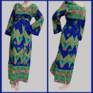 Womens Full length Hawaiian Dress Kamehameha M black Greens bell sleeves