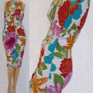 Cache dress M Floral Wiggle Bodycon High neck Ruched Sleeveless knee length Sexy