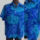 VTG Hawaiian shirt  70s Lauhala Large Blues Green Point collar  Loop Floral