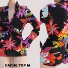 Cache Top Blouse M Long sleeves Bold Bold Floral colors