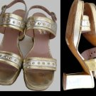VTG Ferragamo shoes Strappy Gold Silver 5.5 B Rosina Ferragamo Heels Platform silver