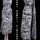 Vintage Hawaiian Dress S Long Graphic Tohki Watteau train Swirls Black White