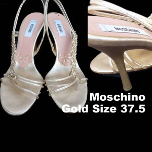 Moschino Shoes VTG SZ7 Heels 4 inches Strappy Gold Leather 37.5
