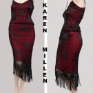 Karen Millen Set Hand Knit top skirt Tango Party beads Straps asymmetrical hem