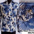 Rare VTg Aloha shirt DaVinci Delfina LS  70s 80s Tiger Palm tree