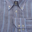 Carolina Herrara Mens Stripe Shirt 16.75 Linen Long sleeve striped