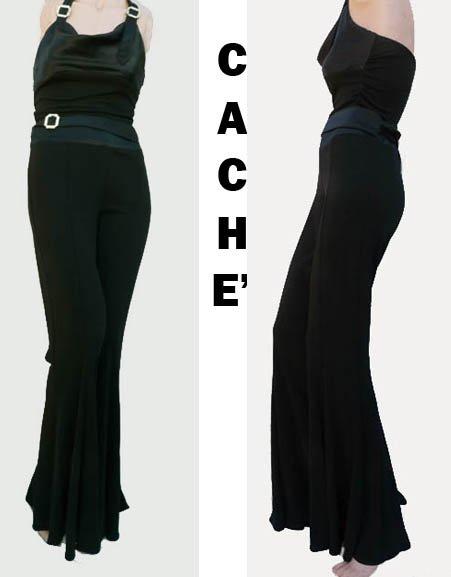 VTG Cache Halter Top & pants Wide Flare legs Bodycon Clubbing Black Rhinestones