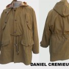 Mens Cotton Khaki hood jacket lined Drewstring waist Daniel Cremieux M to Large Chic