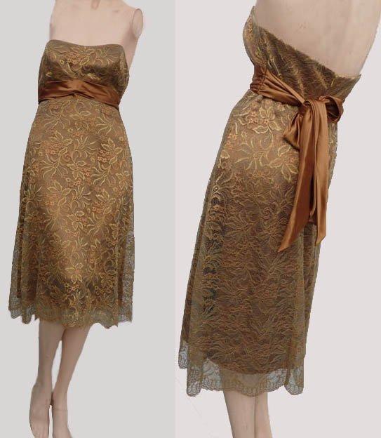 Bari Jay Lace Dress Gold Copper Sz 4 Strapless Hi waist sash Lace Formal