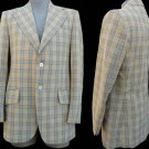 Mens VTG blazer Lifestyles Clothes 70&#39;s Sport coat 40L Big collar Beige black Plaid