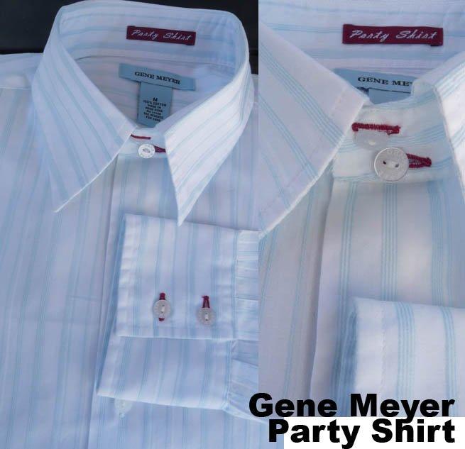 Gene Meyer Party shirt LS White fine striping 16 Neck