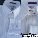 Gene Meyer Party shirt LS White fine striping 16 Neck