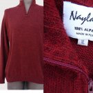 Mens Alpaca sweater XL Deep muted red Long sleeves Peru