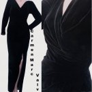 Black Gown Velvet Sz 4 Formal Carmen Marc Valvo V neckline Sz 4 LS Party Dinner p