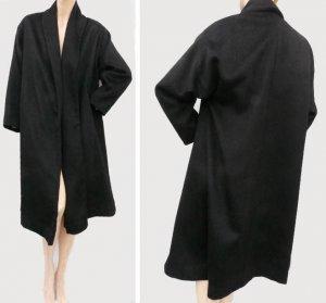 VTG 80s Womens Coat L Alpaca Knee length  Black Anglo Gloss