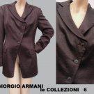 Giorgio Armani blazer jacket Top Sz 6 Chocolate Asymmetrical Button front