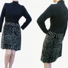 VTG 70s 80s Lillie Rubin Dress Sz 6 High neck Black top Zebra print Skirt Sz6 USA