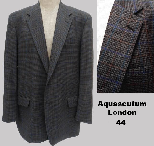 Aquascutum London Blazer Sportcoat 44 Brown Black Blue Gold