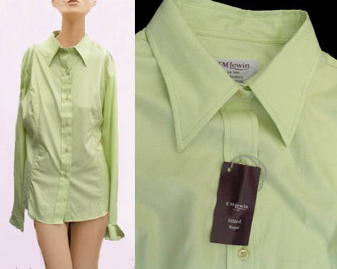 Womens Top shirt Blouse TM Lewin SZ 12 Pistachio French cuffs fitted