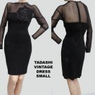 Vintage Illusion top Wiggle dress Tadashi Black Rose Sexy Stretch Size S