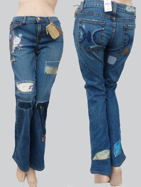 Designer Jeans Womens Distressed Furst of a Kind Embellished Di