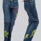 Womens jeans Designer Request Jeans Text Low rise embroidered 30  31