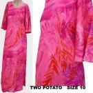 Dress VTG  Maxi Hot Pinks Two Potato Sz 10 LS Hawaiian look Red  Purple Muu Muu