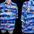 Jams World Shirt L Short Sleeves Fish theme Blue Green orange