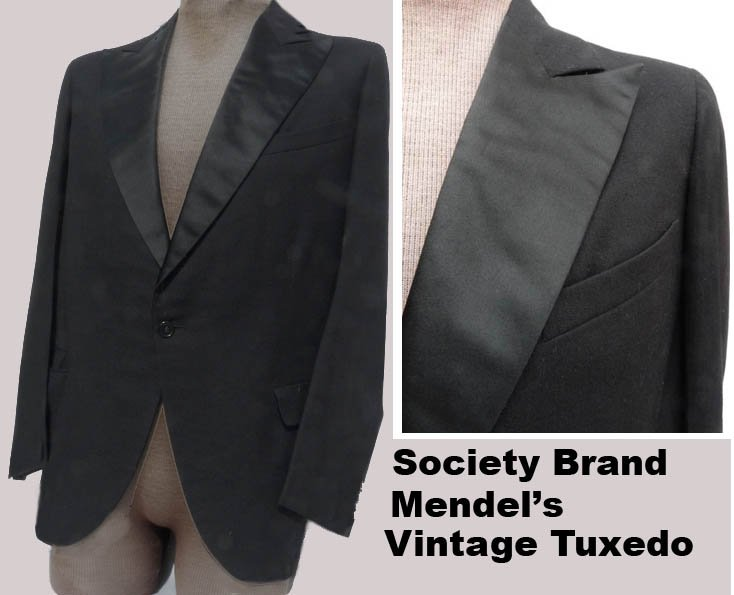 Vtg mens Tux Tuxedo 40 Mendel�s Society Brand Black SB70s 80s Wide lapels Formal Wedding Costume
