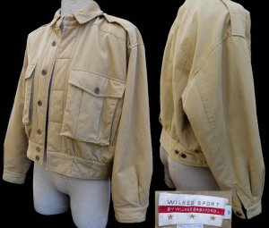 Mens jacket outerwear Wilkes Bashford  L Khaki Military  pockets LS epaulet Cotton