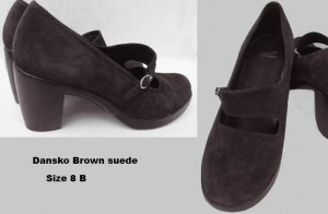 Dansko shoes Tara 8 B Brown suede NWOBStraps Buckle