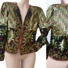 Sequin JACKET embellished evening Adrianna Papell S Black greens gold Beads Party Cruise