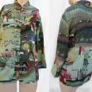 Citron Santa Monica S Top Blouse Silk Asian Woodblock Art Theme
