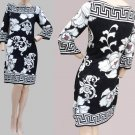 Womens dress Black white print White House Black Market XS BOLD Floral ¾ quarter sleeves