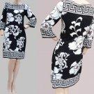 Womens dress Black white print White House Black Market XS BOLD Floral ¾ quarter sleeves