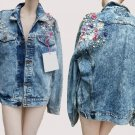 Heavy denim jacket NWT Edwin Jeans Buttons Beads Blue denim Embellished M to L Japan