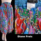 VTG 80s Womens Skirt Accordian Pleated shirred Diane Freis Original M Georgette Boho Bold Floral