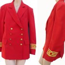 Red Blazer Christian Lauren Paris Jacket Sz S Band Military Nautical Gold Buttons braid