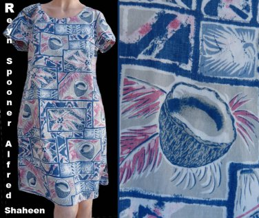 Hawaiin Coconuts print dress Alfred Shaheen Reyn SpoonerWomens  S Aloha SS PAlms Fronds Cotton