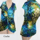 Cache top Cap sleeves ruching Multi color L Abstract Blues Greens black Aqua az