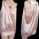 Cache Top TankSize L SleevelessRound neck long style Soft Pink gold tone studs