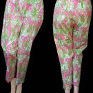 LILLY PULITZER Sz 8 Womens pants Giraffe Monkey Elephant Hippo Green Yellow P