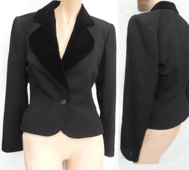 Yves Saint Laurent Rive Gauche Vintage Black Jacket Fitted M 38 Paris France