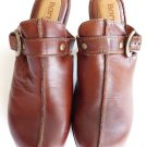Womens shoes Clogs Born Brown leather Heels  Slides mules Sz 9