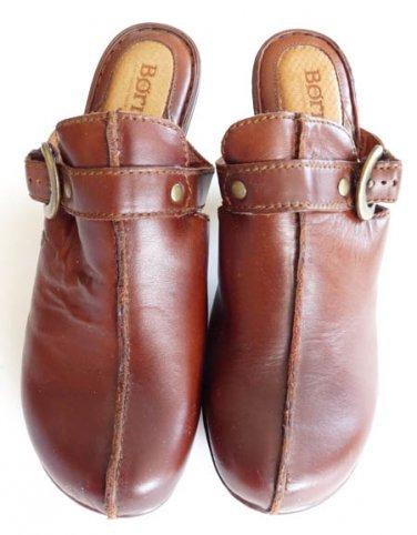 Womens shoes Clogs Born Brown leather Heels  Slides mules Sz 9