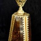 Vtg 40S 60S Stylebuilt Perfume Bottle Pyramid Beveled Glass  Cherub Ormolu Large Stylebuilt