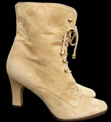 Vintage Chantal Ankle Granny Boots Heels Sz 8 Lace up Tan Fine suede