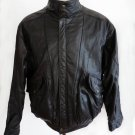 VTG Clipper Leather Military Bomber style  jacket Motorcycle Black Distressed lining