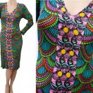 Custo Barcelino Abstract print dress  Sz 2  Bodycon Stretch Graphics LS Vivid Colors