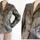 Elie Tahari Leather jacket womens M bronze/gold  Button front Supple Soft leather